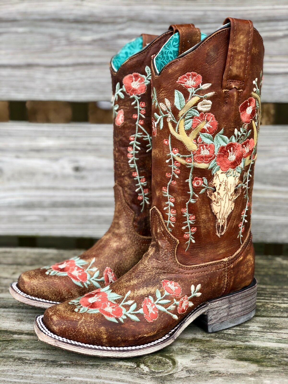 Corral Women's Deer Skull & Embroidery Distressed Tan Square Toe Boots A3708