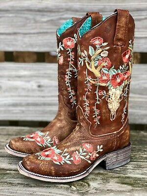 a8491c86732 Corral Women's Deer Skull & Embroidery Distressed Tan Square Toe Boots  A3708 | eBay