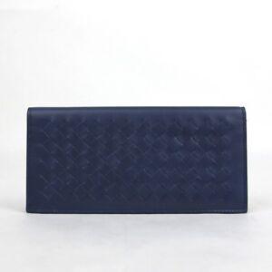 75c6ee3238 Bottega Veneta Men Navy Blue Leather Intercciaco Long Bifold Wallet ...