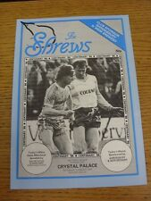 24/03/1987 Shrewsbury Town v Crystal Palace [Programme Dated: 07/03/1987, No Upd