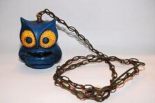 Vintage 1960's Blue Owl Swag Lamp Light Mid-Century Ceramic Chain Hanging Nice!