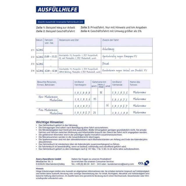 Zweckform Fahrtenbuch 223 40 Blatt,steuerlicher km-Nachweis A5 hoch