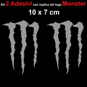 Kit-2-Adesivi-Monster-Graffio-Moto-Stickers-Adesivo-7-x-10-cm-decalcomania-SILVE