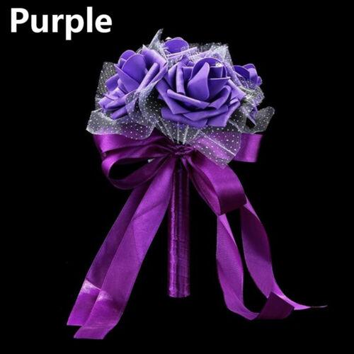 Hand Bunch Artificial Rose Bridal Holding Flower Bridesmaid Decor Silk Bouquet
