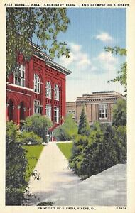 Athens-University-of-Georgia-Terrell-Hall-Chemistry-Building-1940-Linen-Postcard