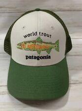 0ce53cbd2c8 Patagonia World Trout Fishstitch Trucker Snapback Hat Mid Crown Green  Adjustable