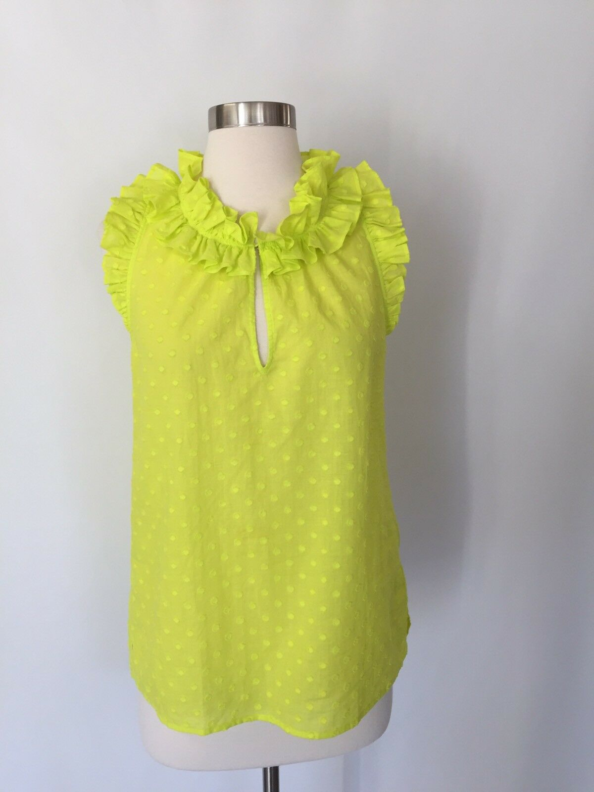 NWT JCREW Ruffle top in clip dot Größe 4 Bright Citrus G3710 SP17 SOLDOUT