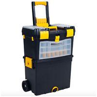 Portable Rolling Wheels Tool Box Parts Storage Organizer Compartment Plastic