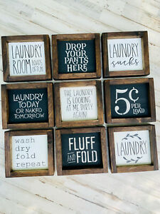 Laundry Room Decor Signs Wood Funny Laundry Signs Gift For Mom Farmhouse Ebay