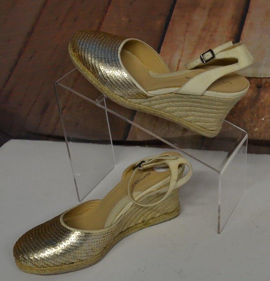 conveniente Via Spiga Sz 6 M Larky Cream Pailletes Wedge Sandals Sandals Sandals Espadrille scarpe Strap New  vendita scontata online di factory outlet