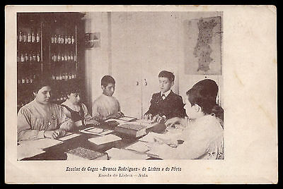 BLIND SCHOOL pupils leanr read BRAILLE. Old Charity Postcard PORTUGAL 1905s