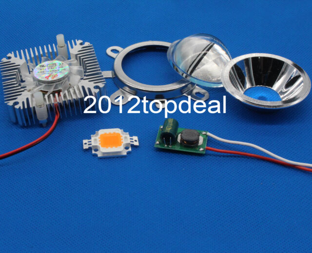 10w 380-840nm full spectrum led grow chip+10W Driver + 44mm Lens+10w Heatsink