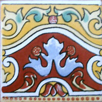 9 Mexican Tiles Wall Or Floor Use Talavera Mexico Ceramic Handmade Pottery C083