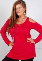Red Top T Shirt Jersey Knit Stretched Open Shoulder Plus 4x 5x 6x Zd472