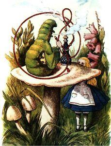 VINTAGE-VICTORIAN-ALICE-IN-WONDERLAND-CANVAS-ART-Hookah-Smoking-Caterpillar