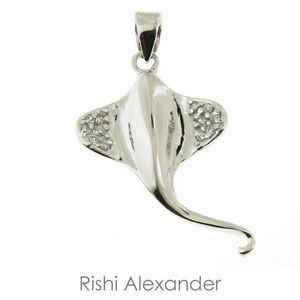 925 sterling silver cz stingray pendant or necklace ebay image is loading 925 sterling silver cz stingray pendant or necklace mozeypictures Gallery