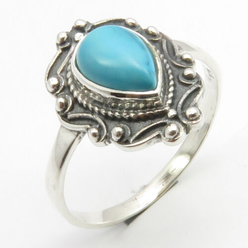 Bonfire Night Discount Solid Silver TURQUOISE Antique Look Ring Size 9.75 Women