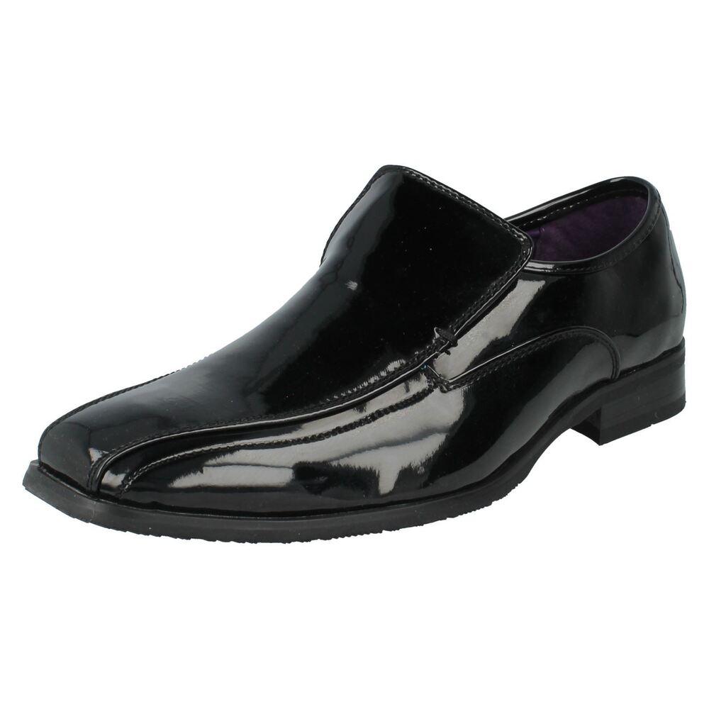 Simple Maverick A1r094 Hommes Noir Verni Lacet Chaussures Uk 7 X 11 (r22f) Beau Lustre