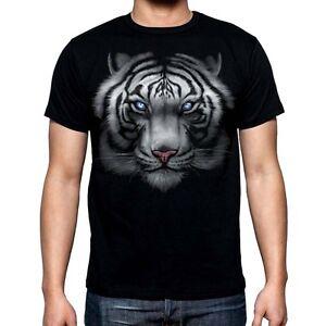 1ce111ee3 New Men's White Tiger Black T Shirt Full Face Wild Animal Wildlife ...