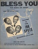 The Ink Spots Bless You For Being An Angel UK Sheet Music