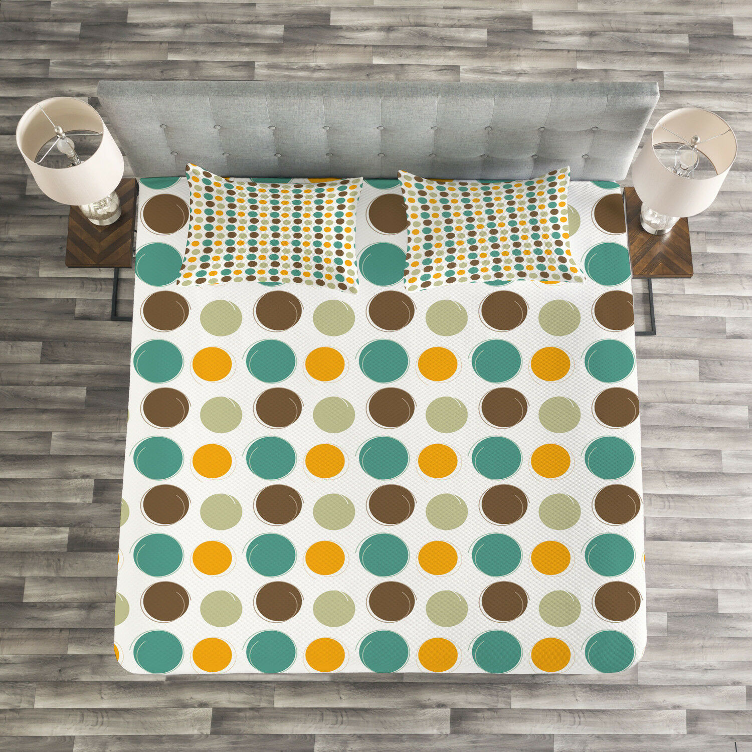 Retro Quilted Bedspread & Pillow Shams Set, colorful Abstract Dots Print