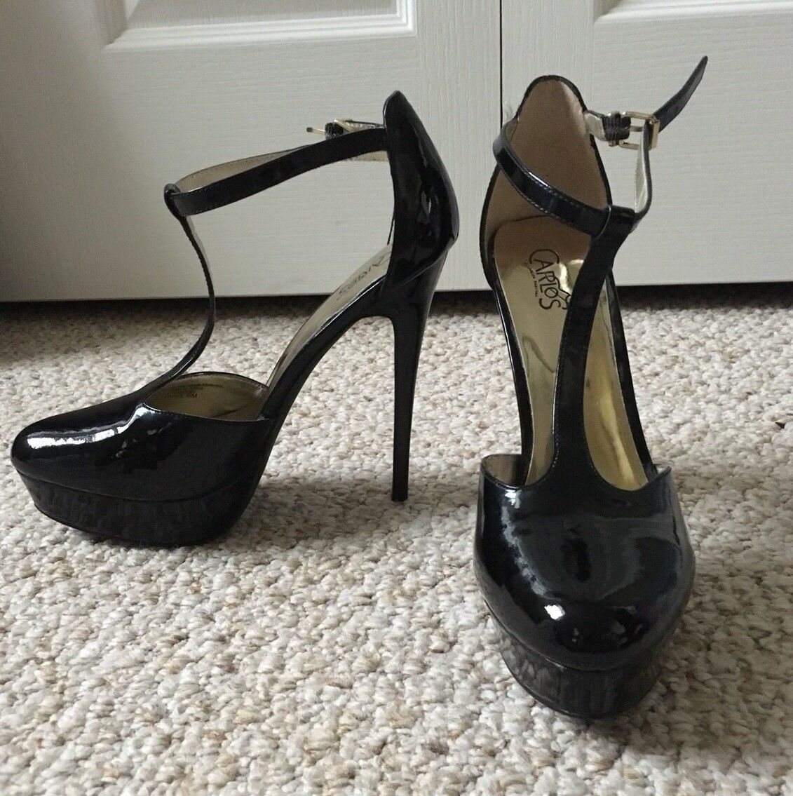 New w/o Box Carlos Santana Prince Black Patent Platform T-strap High Heels 8M