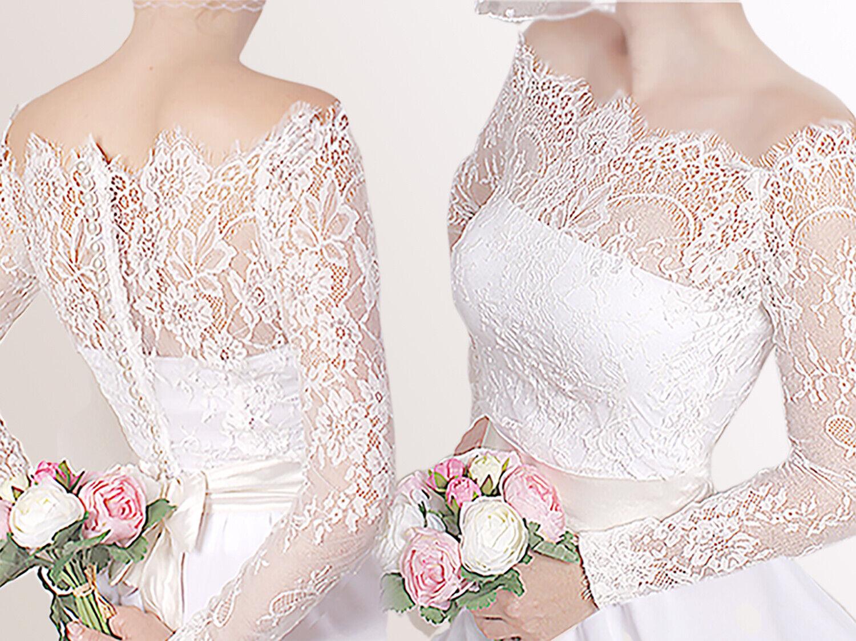 Bridal off shoulder lace bolero jacket /shrug/ 3/4 sleeve wedding gown