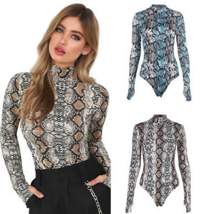 Sexy Women Turtle Neck Snakeskin Print Long Sleeve Bodysuit Jumpsuit ... 0283ec1e6