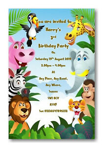 Details About 30 Personalised Jungle Safari Theme Birthday Party Invitations Invite Ref B69