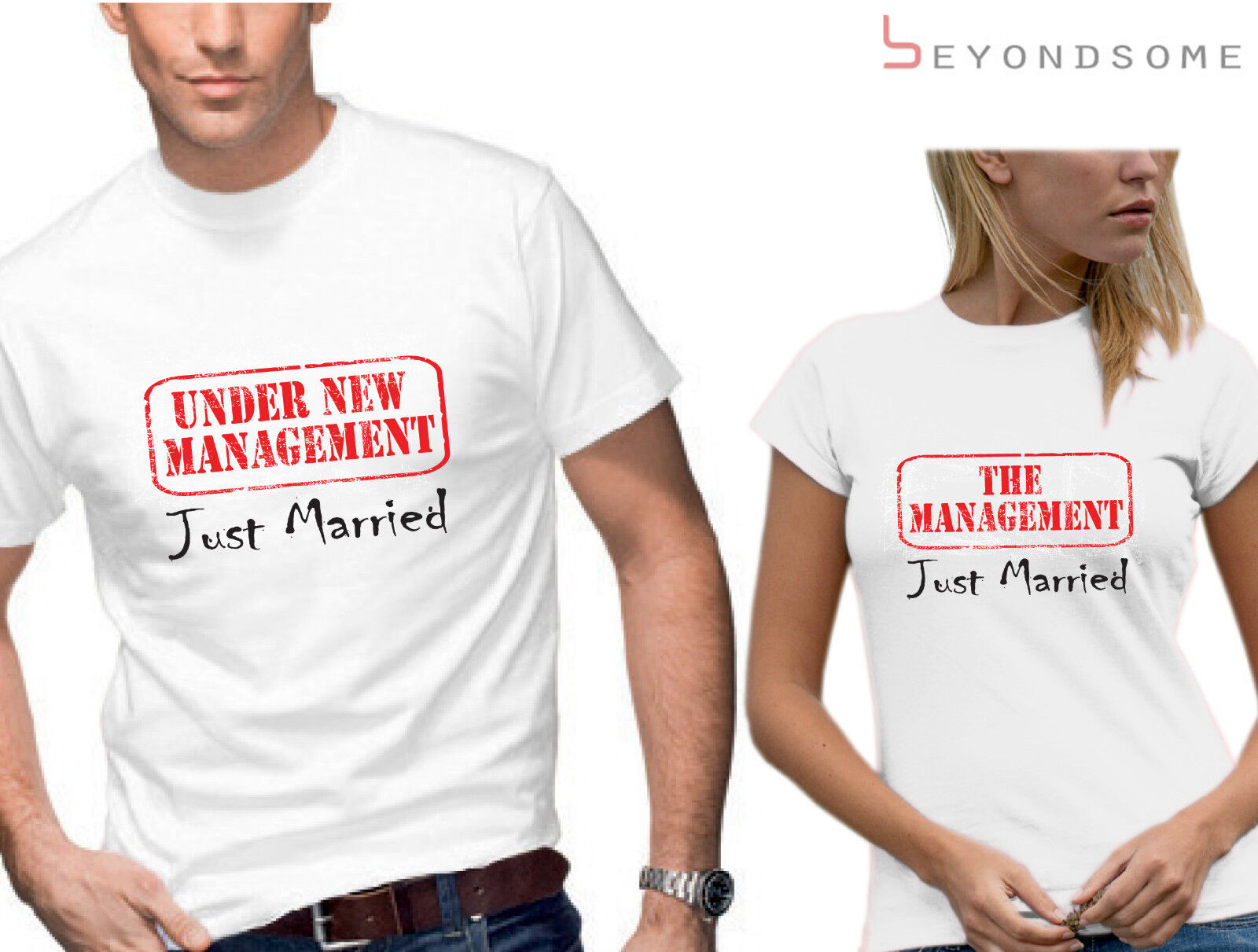 9b70376bb Details about JUST MARRIED UNDER NEW MANAGEMENT T-SHIRT SET FUN WEDDING  TSHIRTS TOPS GIFT