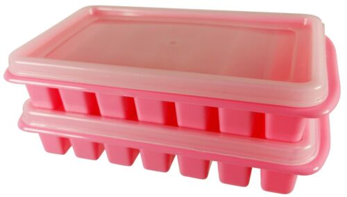 Mini Ice Cube Trays /& Cover Lid Small Office Dorm Frig RV /& Camper Kitchen 2PK