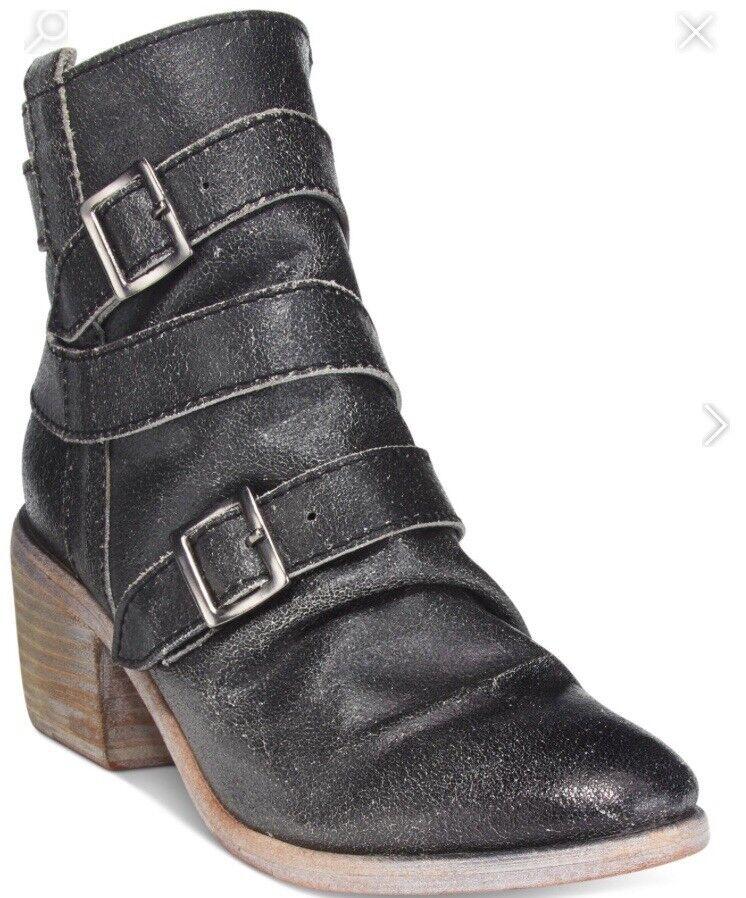 Kelsi Dagger Brooklyn Granda Block Heel Booties Sz 6.5 Women's Black $158 L20