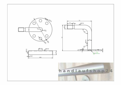 "Handlaufhalter V2A /""S4/"" Handlaufstützen Handlaufträger Konsole Wandkonsole"