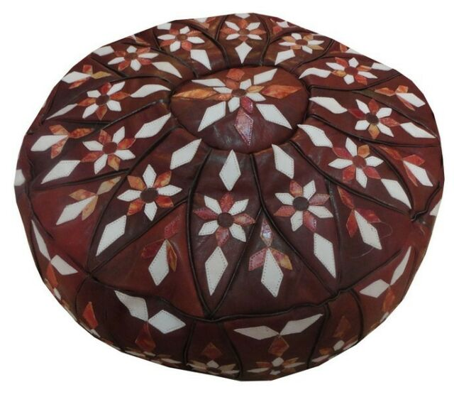 """32"""" Handcrafted Moroccan Leather Ottoman Pouf Footstool #7"""