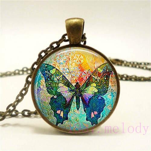 Neuf Cabochon Verre Collier Bronze Charme Rétro Pendentifs : Coloré Papillon