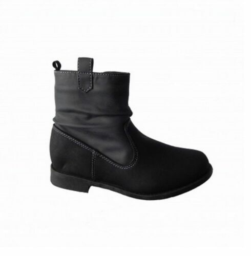 GIRLS Black Faux Suede Nubuck Ruched Ankle Slouch Boot Infant Shoe Size 10-Kid 3