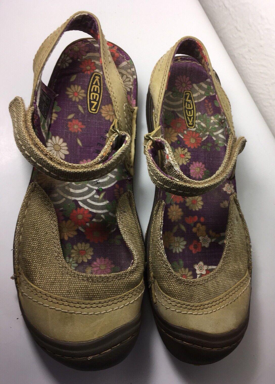 KEEN damen Golden  Olive Canvas Leather Ankle Strap Sandals Größe 8 Closed-toe