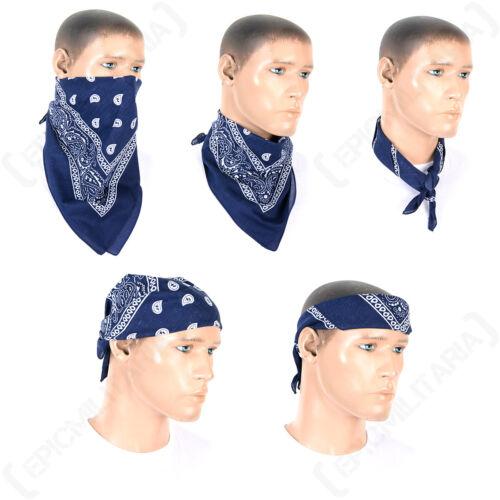 Western Style Bandana Blue Cotton Facemask Scarf Cowboy Pirate Hiking
