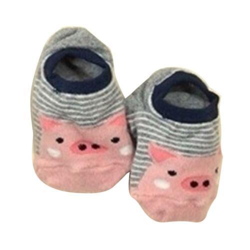 1 Pair Baby Boy Girl Cartoon Cotton Socks Pig Duck Panda Newborn Kids Soft Shoes