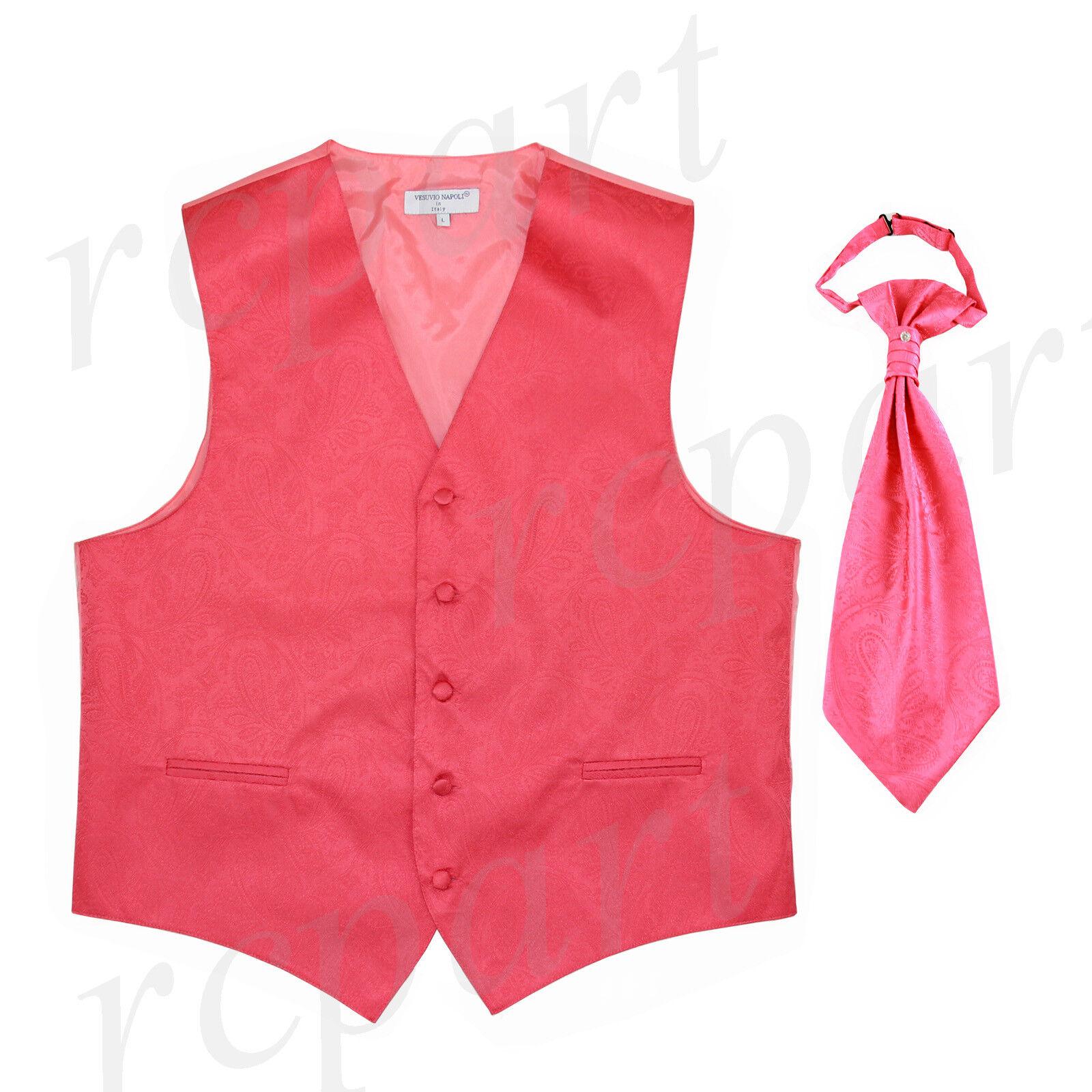 New Men's Vesuvio Napoli Paisley Tuxedo Vest Ascot Cravat prom party Coral