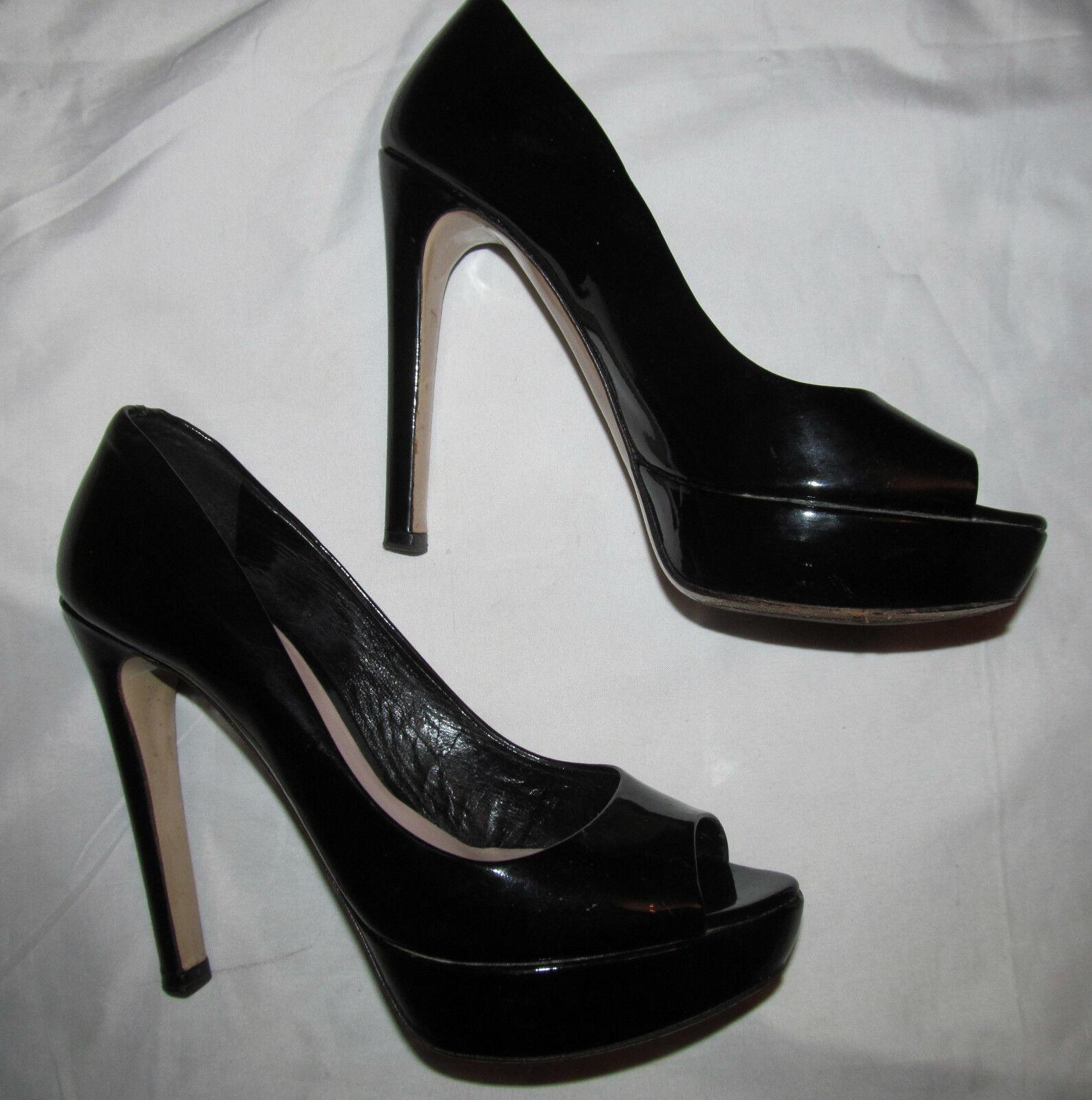 MIU MIU PRADA patent leather vamp platform stiletto peep toe dom shoes 36.5 6.5