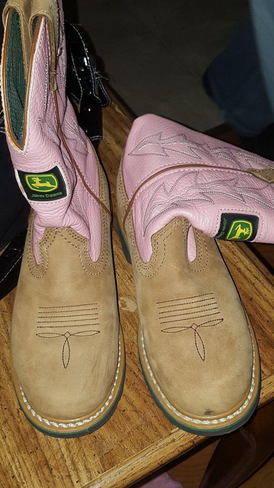 Pink john deere woman's boots size 6