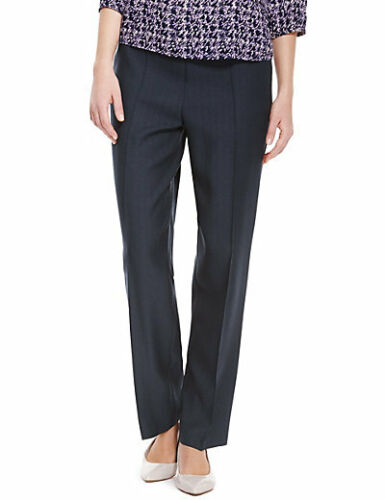 Navy blue pull on classic trousers from Marks /& Spencer size 8 short new