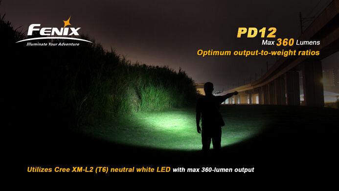 Fenix pd12 CREE xm-l2 Lampe (t6) LED Lampe xm-l2 de poche Flashlight 360 Lumen incl. Batterie 0679e1