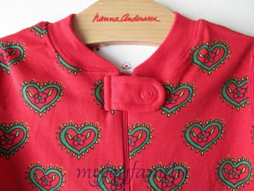 HANNA ANDERSSON Baby Organic Zip Sleeper Swedish Heart 80 18-24 months NWT