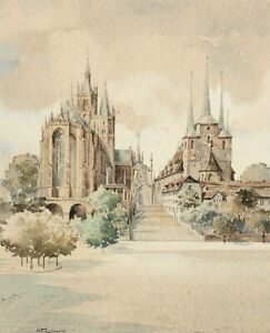 H. Fischer, Sign. Watercolour, Town View Erfurt, Dom St. Marien and severikirche