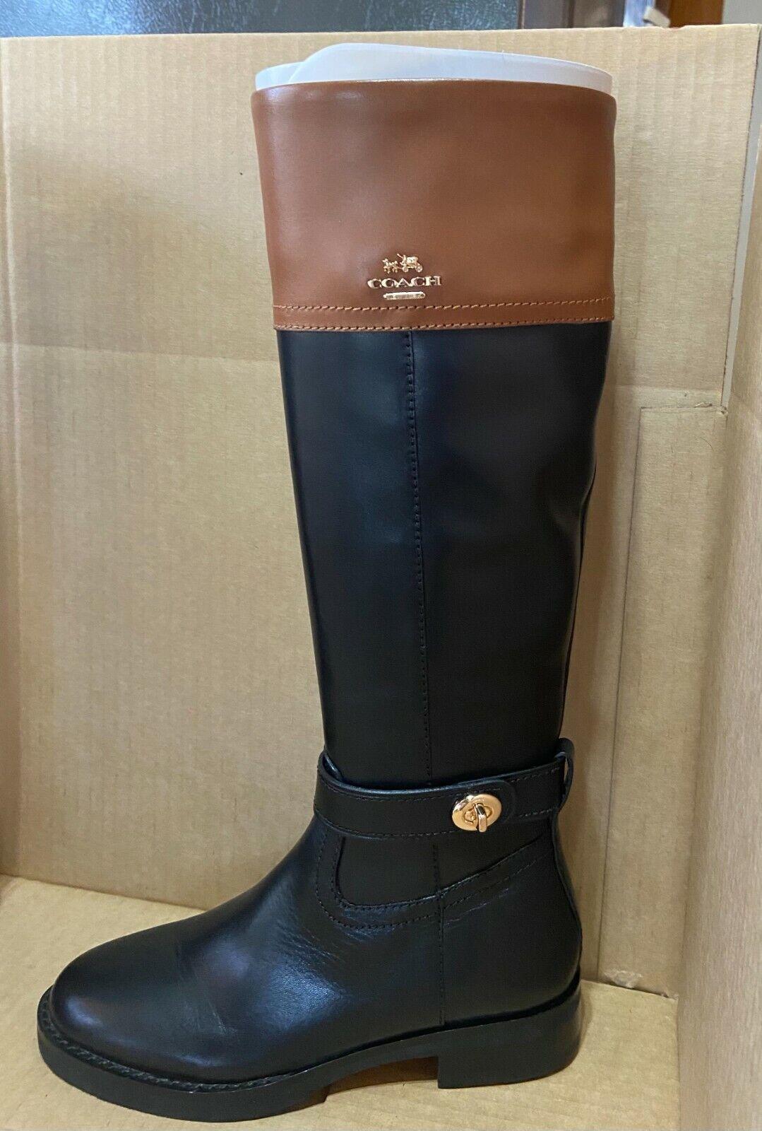 Coach Knee High Boot EVA Skinny Calf Q7660 Size 6 Black/Saddle with box NWB