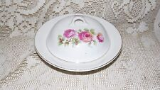 ANTIQUE GERMANY BUTTER/CHEESE BOWL CONTAINER WITH LID ROSES DESIGN