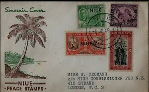 New-Zealand-Niue-1946-Niue-Peace-Stamps-FDC-to-London