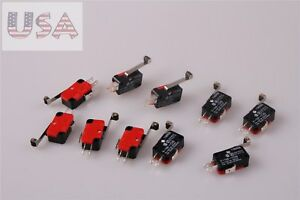 10Pcs-V-156-1C25-Micro-Limit-Switch-Long-Hinge-Snap-Action-Roller-Tip-Lever